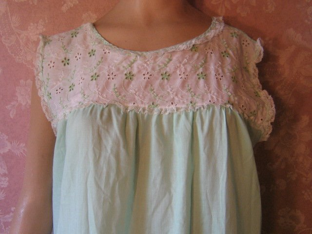 Eyelet is feminine and beautiful and a pretty touch to any nightgown,