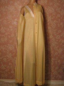 Sears Long Silky Nylon Vintage Nightgown Peignoir Set M Lemon Yellow Simple Feminine