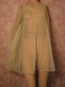 Van Raalte Vintage Nightgown Lingerie Sheer Chiffon Yellow Petite XS S no lace
