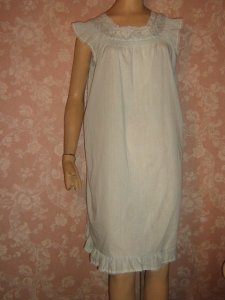 Katz Cotton Vintage Nightgown Baby Blue embroidered Smocked S M